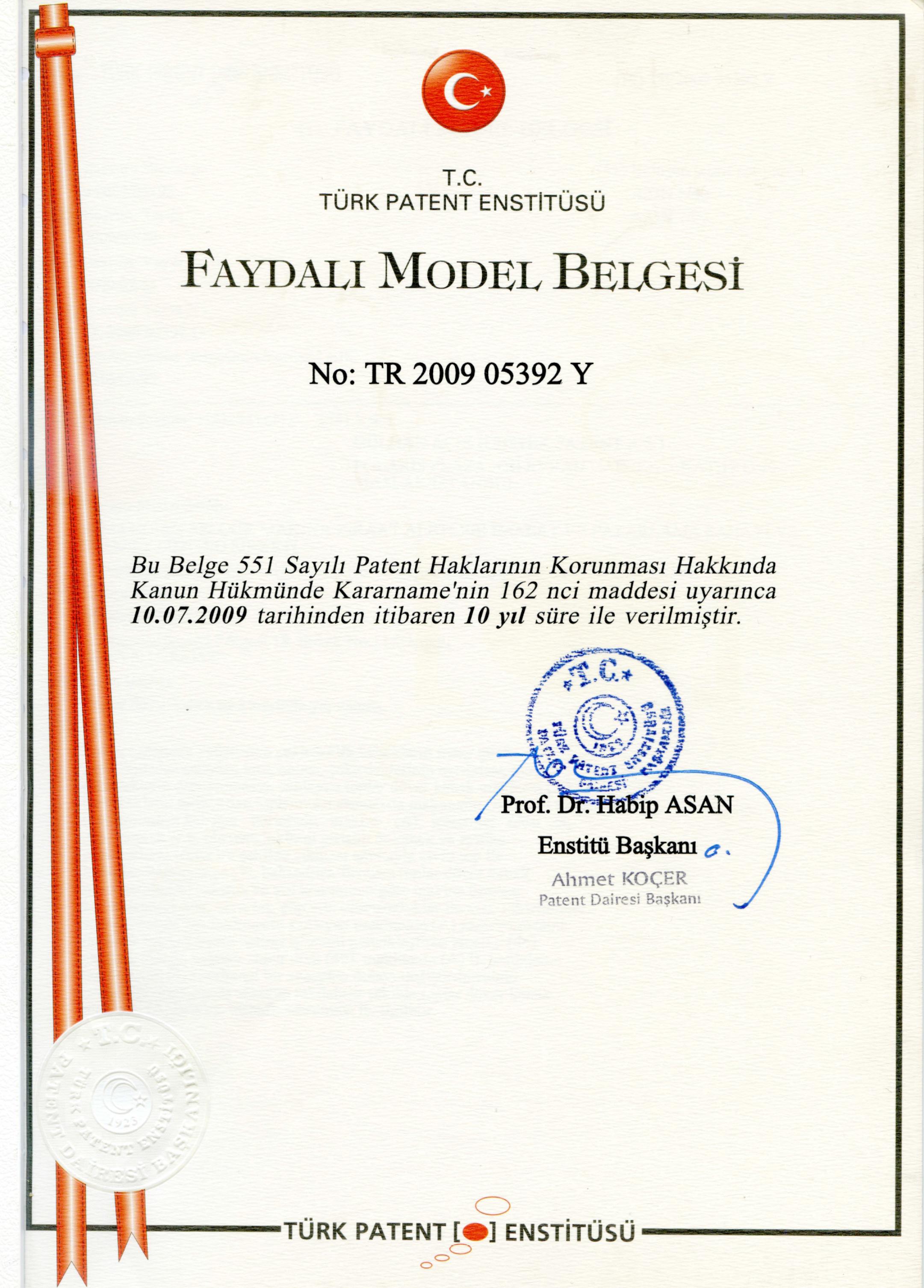 Faydalı Model Belgesi