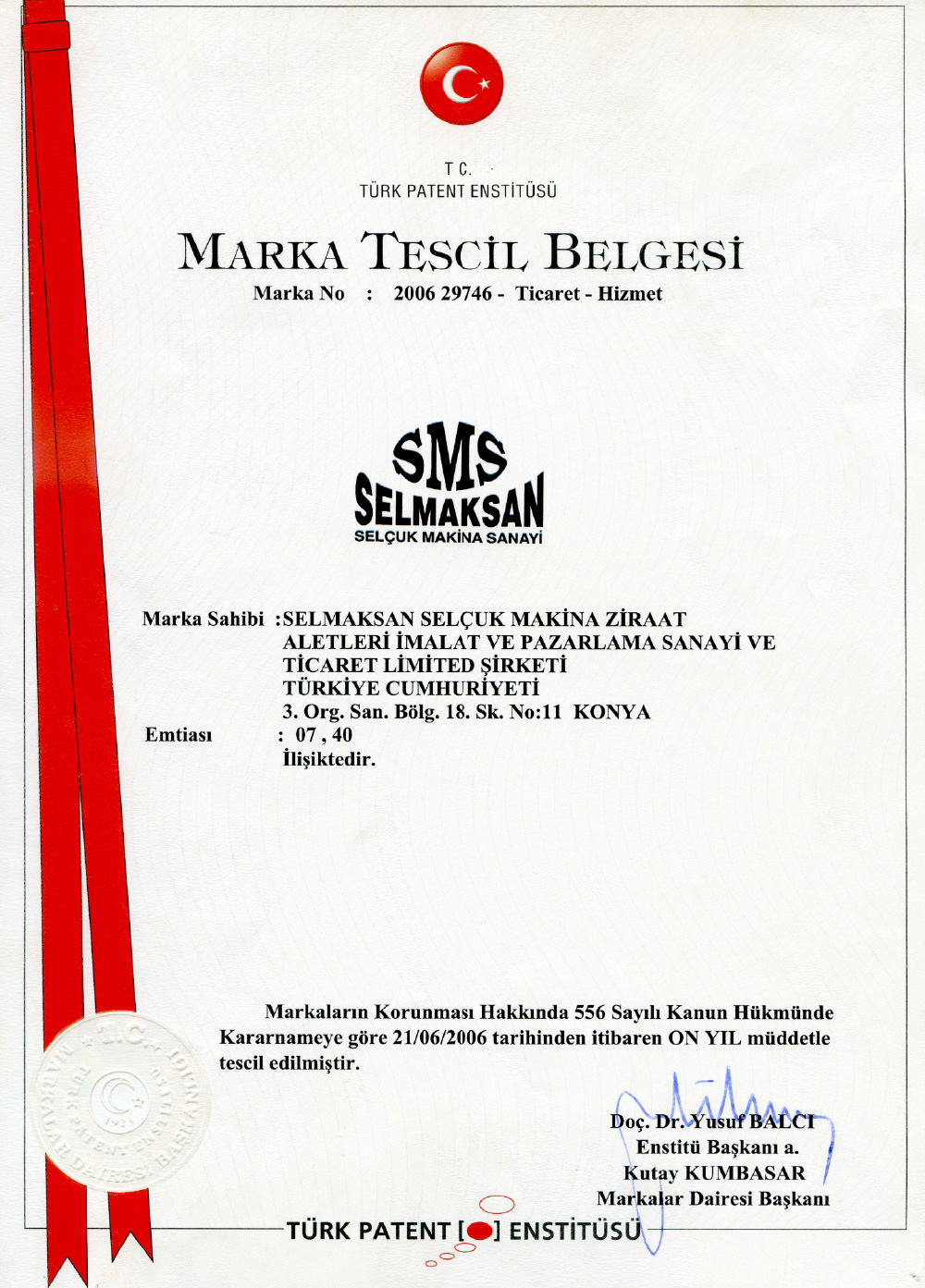 Markenregistrierungszertifikat