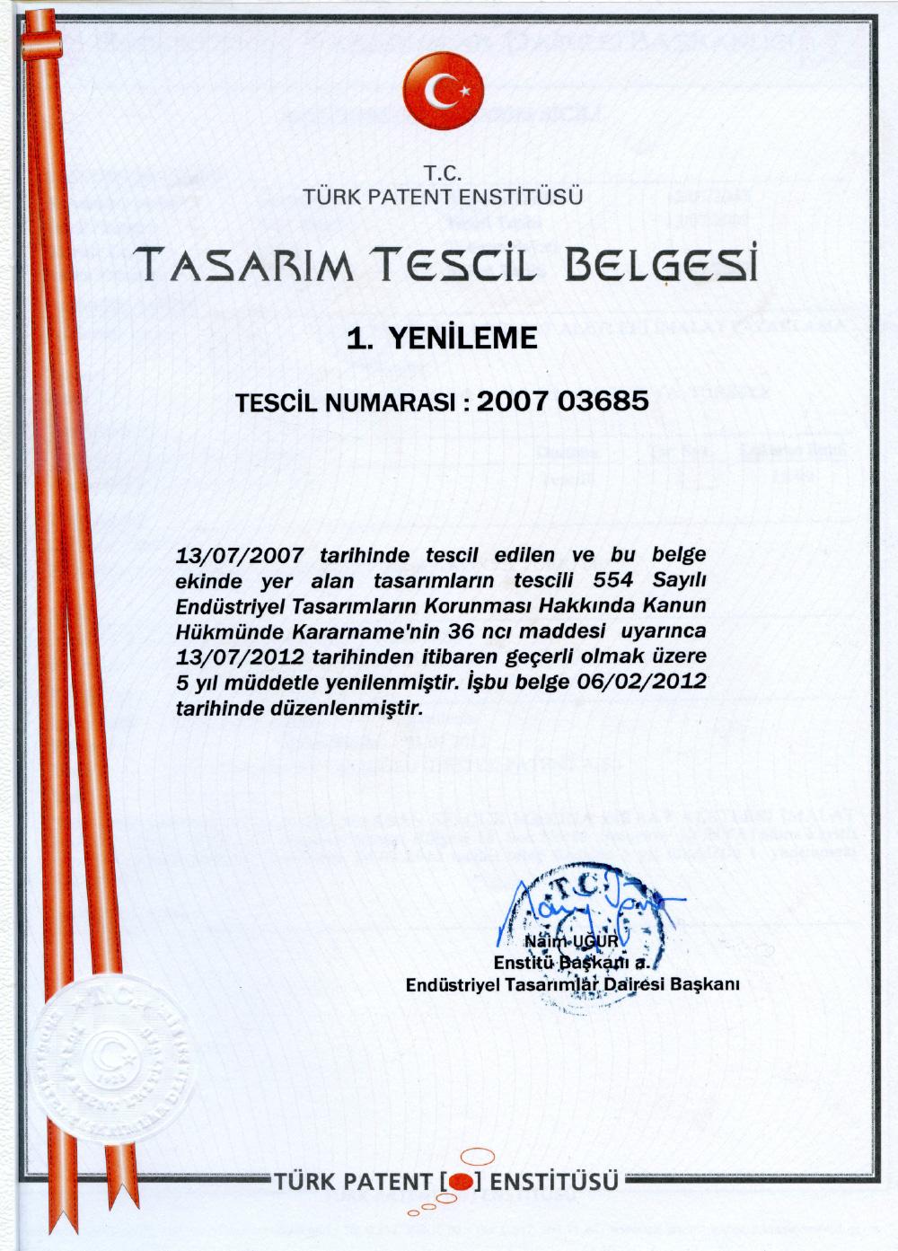 Design Registration Certificate