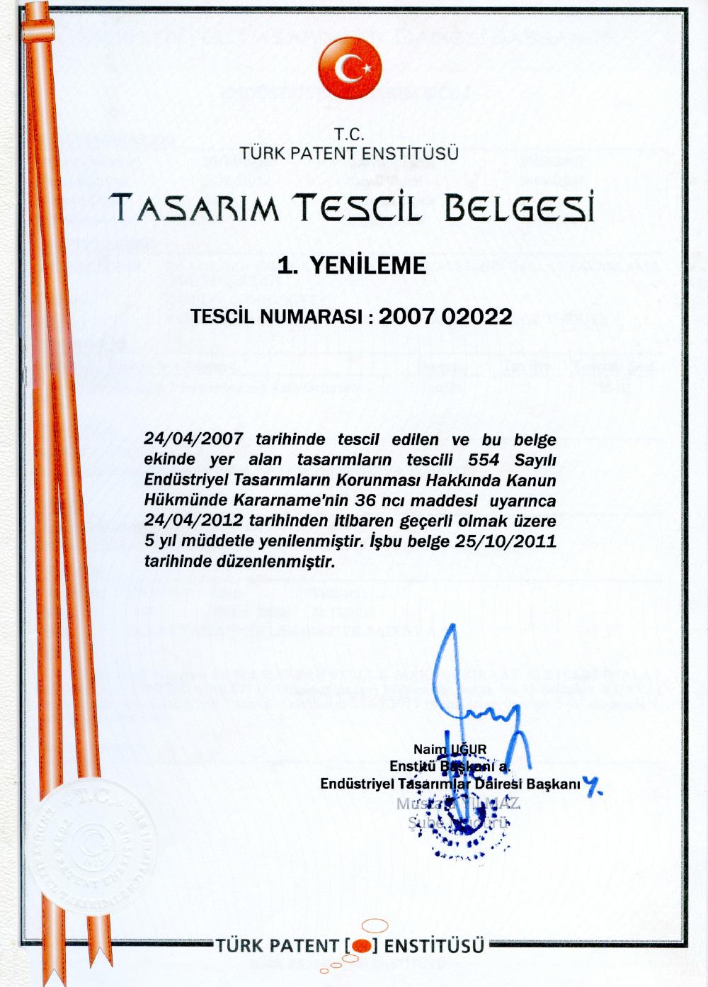 Design-Registrierungszertifikat